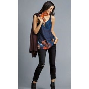 CAbi Style#3434 Artist Cami Floral Blue Tank Top